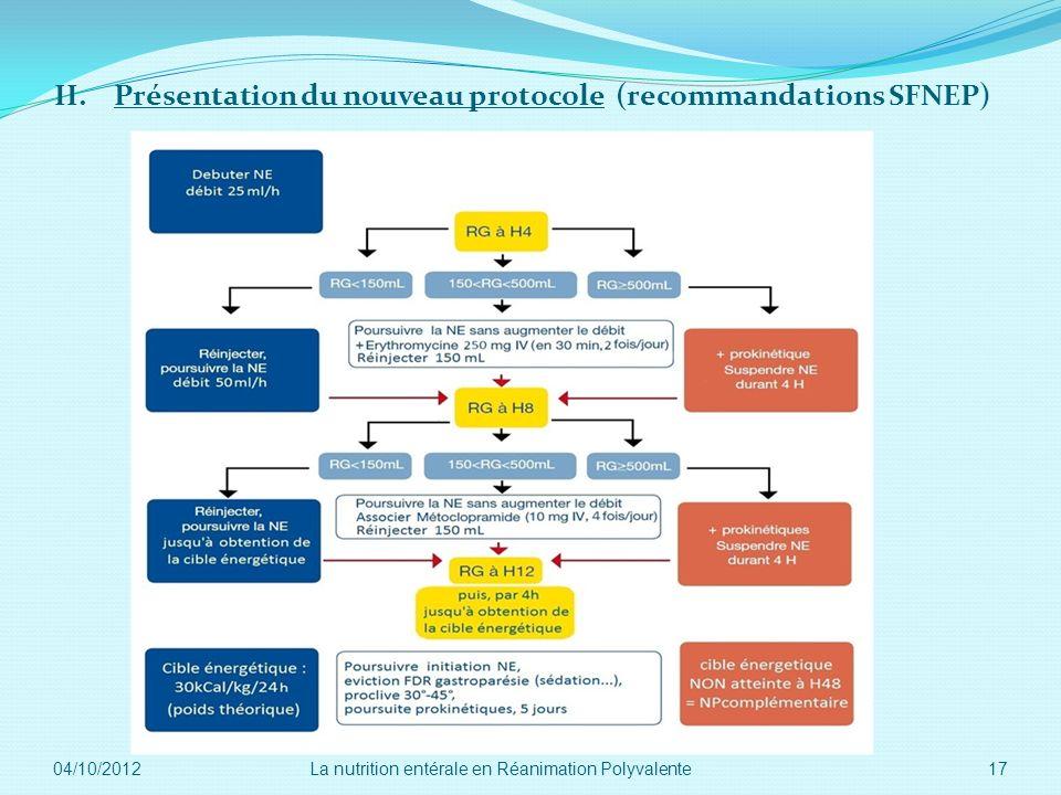 II. Présentation du nouveau protocole (recommandations SFNEP) 04/10/2012 17La nutrition entérale en Réanimation Polyvalente