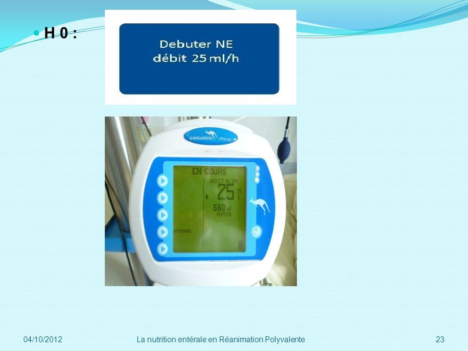 H 0 : 04/10/2012 23La nutrition entérale en Réanimation Polyvalente