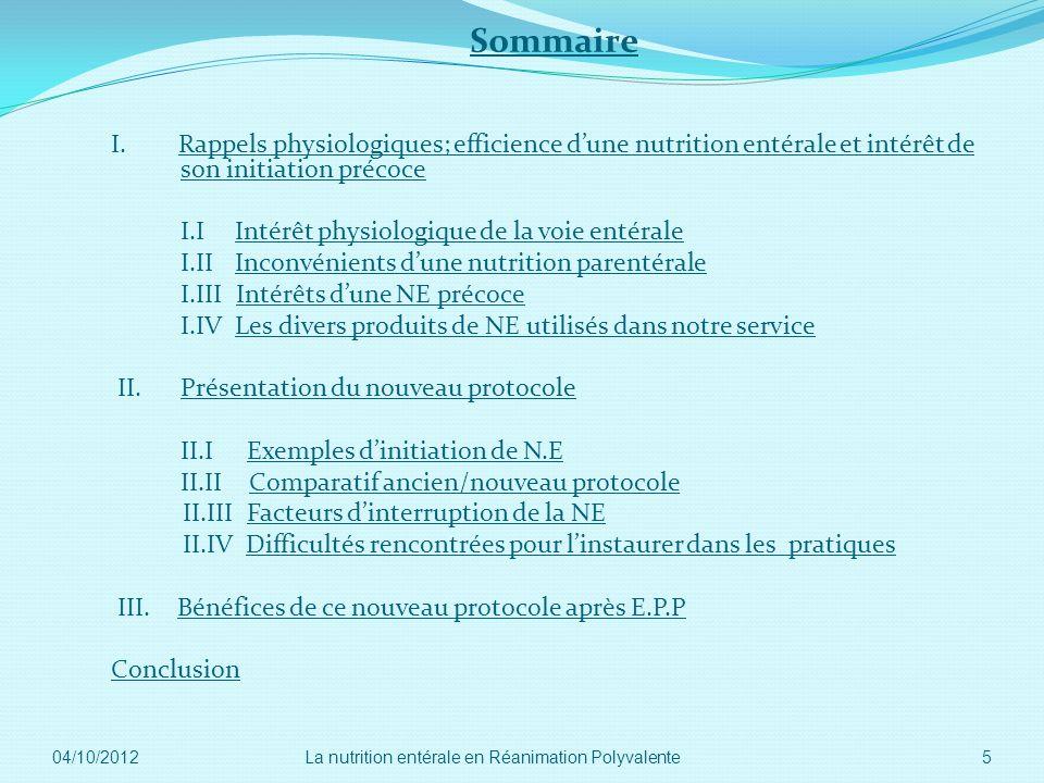 Sommaire I. Rappels physiologiques; efficience dune nutrition entérale et intérêt de son initiation précoce I.I Intérêt physiologique de la voie entér
