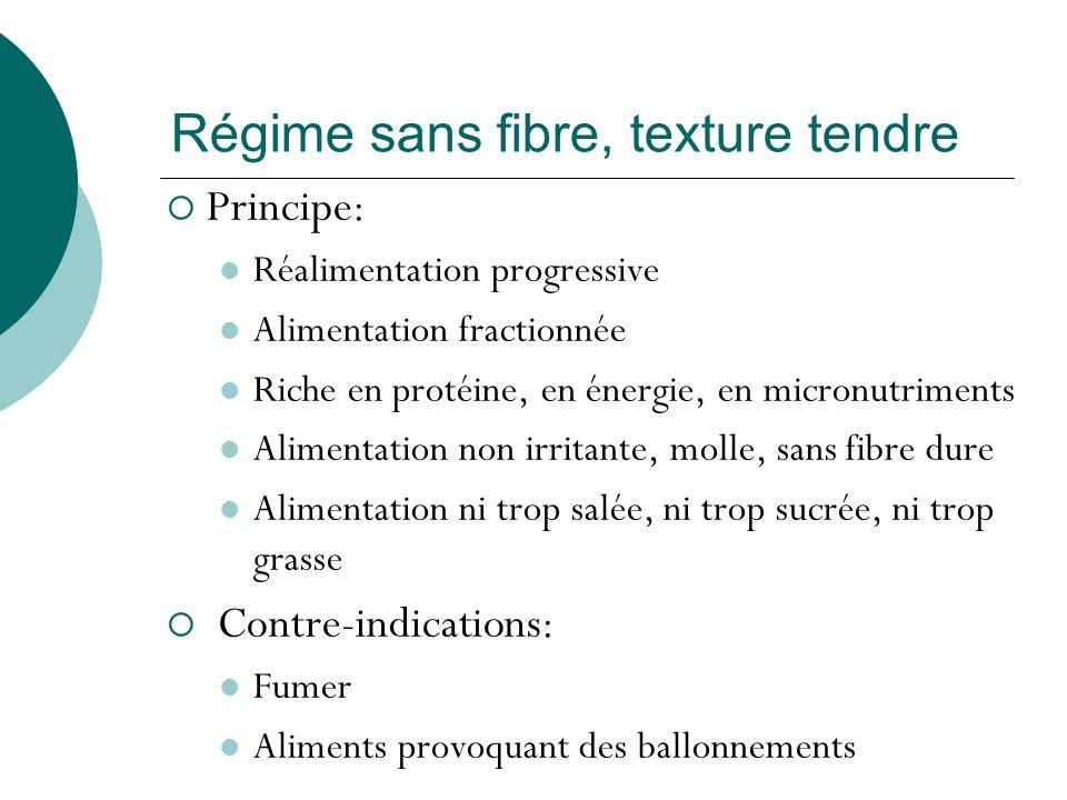 Régime sans fibre, texture tendre Principe: Réalimentation progressive Alimentation fractionnée Riche en protéine, en énergie, en micronutriments Alim