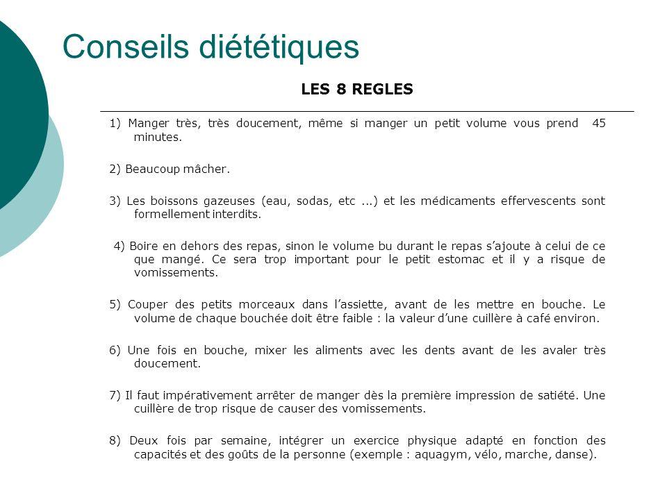 Conseils diététiques LES 8 REGLES 1) Manger très, très doucement, même si manger un petit volume vous prend 45 minutes. 2) Beaucoup mâcher. 3) Les boi