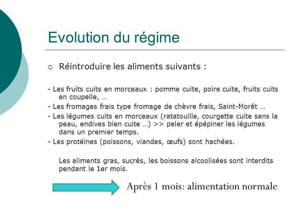 Evolution du régime Réintroduire les aliments suivants : - Les fruits cuits en morceaux : pomme cuite, poire cuite, fruits cuits en coupelle, … - Les