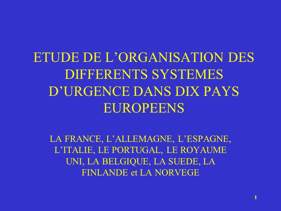 1 ETUDE DE LORGANISATION DES DIFFERENTS SYSTEMES DURGENCE DANS DIX PAYS EUROPEENS LA FRANCE, LALLEMAGNE, LESPAGNE, LITALIE, LE PORTUGAL, LE ROYAUME UN