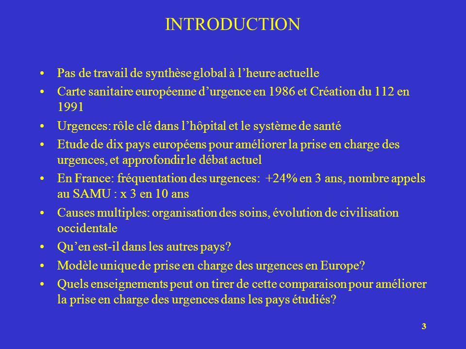 3 INTRODUCTION Pas de travail de synthèse global à lheure actuelle Carte sanitaire européenne durgence en 1986 et Création du 112 en 1991 Urgences: rô