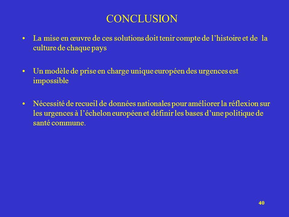 40 CONCLUSION La mise en œuvre de ces solutions doit tenir compte de lhistoire et de la culture de chaque pays Un modèle de prise en charge unique eur