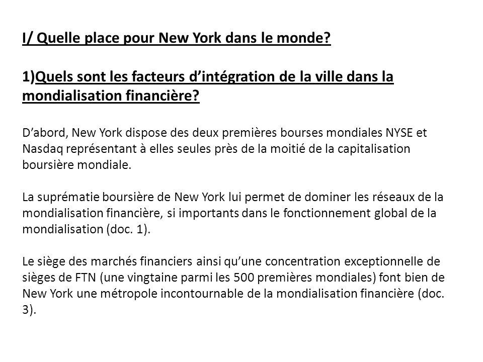 2) Quels sont les facteurs dintégration de NY dans les réseaux déchange et dinformation dans le monde.