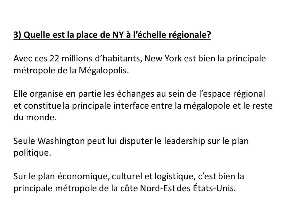3) Quelle est la place de NY à léchelle régionale.