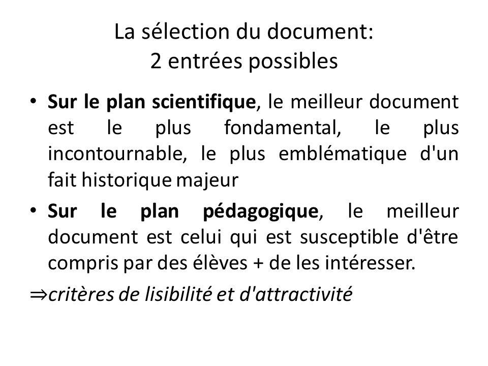 La sélection du document: 2 entrées possibles Sur le plan scientifique, le meilleur document est le plus fondamental, le plus incontournable, le plus