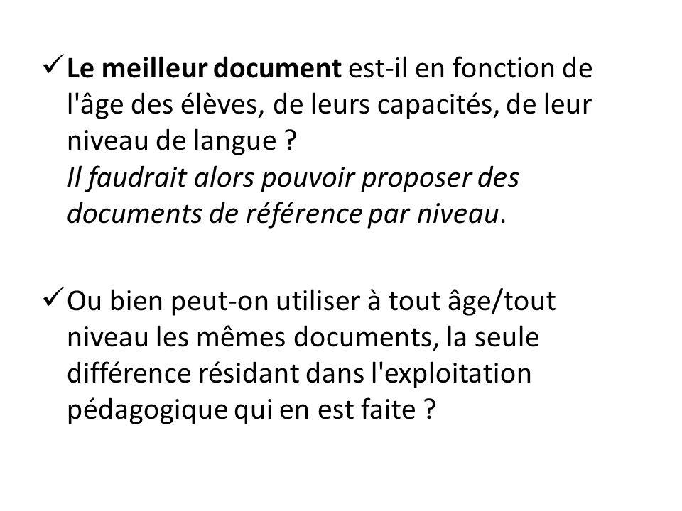 Le meilleur document est-il en fonction de l'âge des élèves, de leurs capacités, de leur niveau de langue ? Il faudrait alors pouvoir proposer des doc