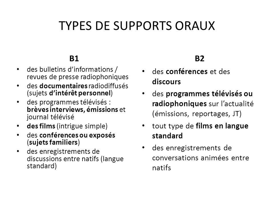 TYPES DE SUPPORTS ORAUX B1 des bulletins dinformations / revues de presse radiophoniques des documentaires radiodiffusés (sujets dintérêt personnel) d