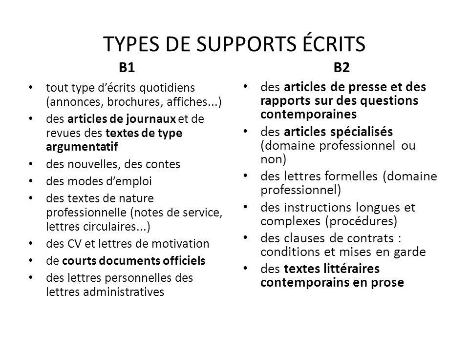 TYPES DE SUPPORTS ÉCRITS B1 tout type décrits quotidiens (annonces, brochures, affiches...) des articles de journaux et de revues des textes de type a