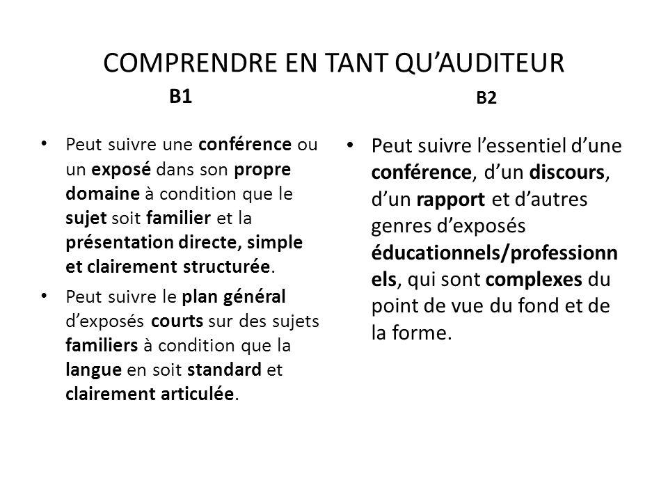 COMPRENDRE EN TANT QUAUDITEUR B1 Peut suivre une conférence ou un exposé dans son propre domaine à condition que le sujet soit familier et la présenta
