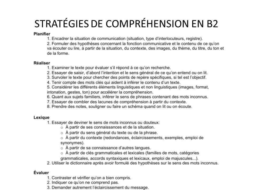 STRATÉGIES DE COMPRÉHENSION EN B2