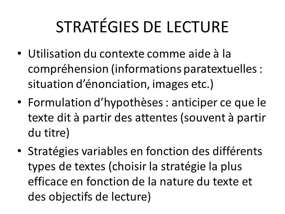STRATÉGIES DE LECTURE Utilisation du contexte comme aide à la compréhension (informations paratextuelles : situation dénonciation, images etc.) Formul