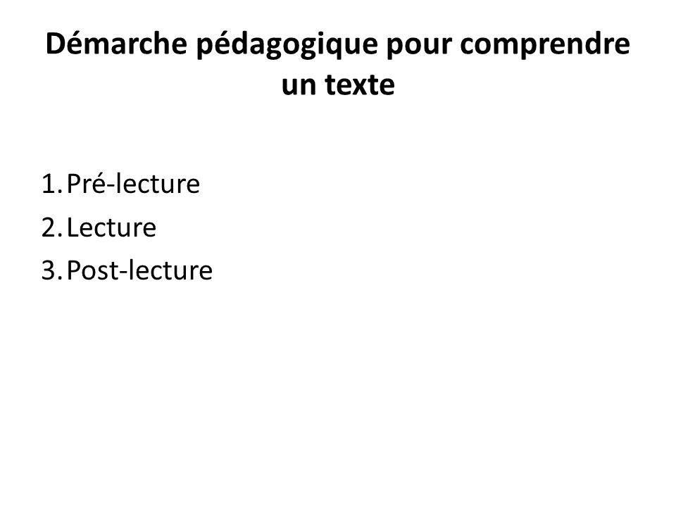 Démarche pédagogique pour comprendre un texte 1.Pré-lecture 2.Lecture 3.Post-lecture