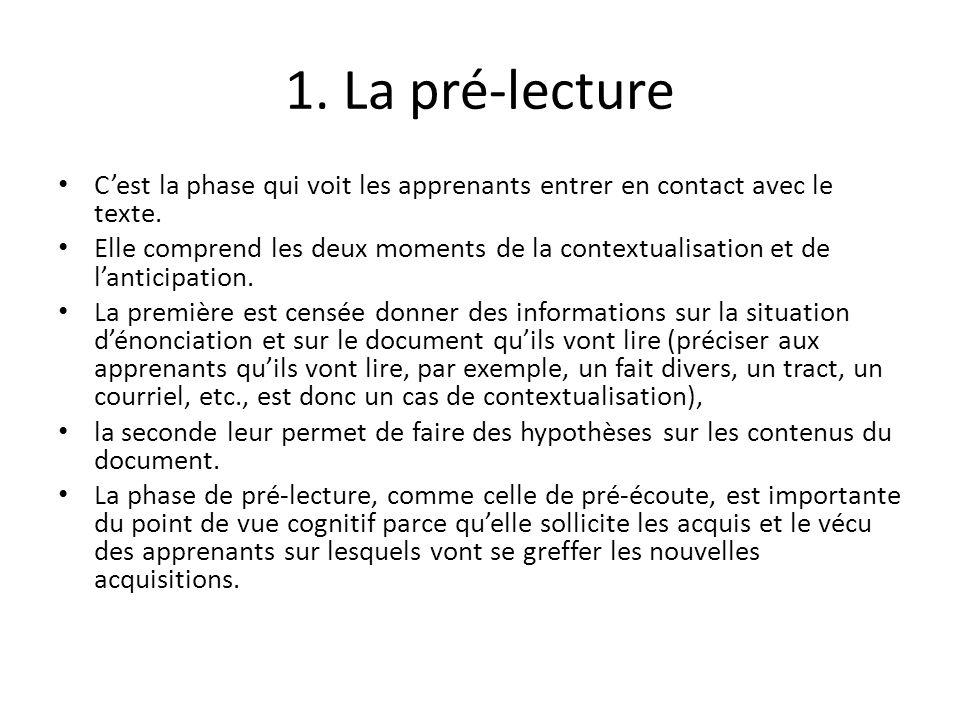 1. La pré-lecture Cest la phase qui voit les apprenants entrer en contact avec le texte. Elle comprend les deux moments de la contextualisation et de