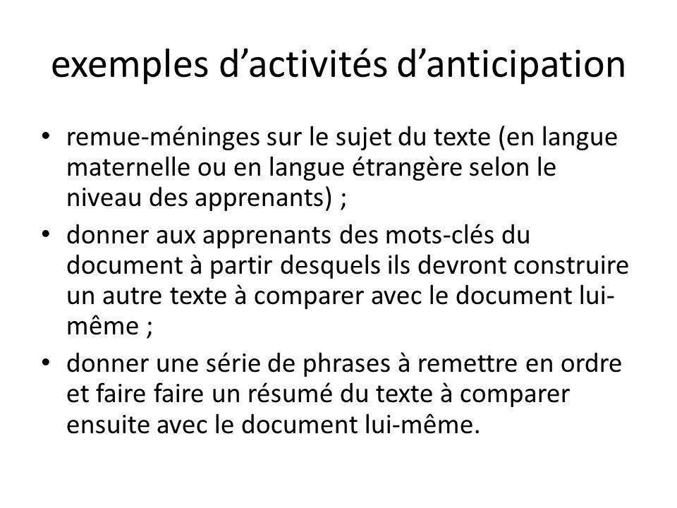 exemples dactivités danticipation remue-méninges sur le sujet du texte (en langue maternelle ou en langue étrangère selon le niveau des apprenants) ;
