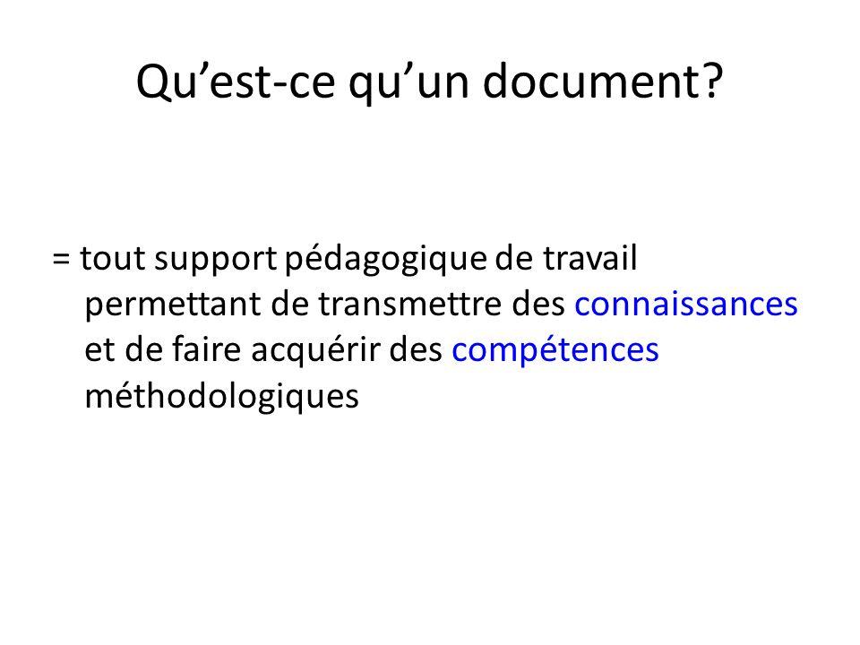 Quest-ce quun document? = tout support pédagogique de travail permettant de transmettre des connaissances et de faire acquérir des compétences méthodo