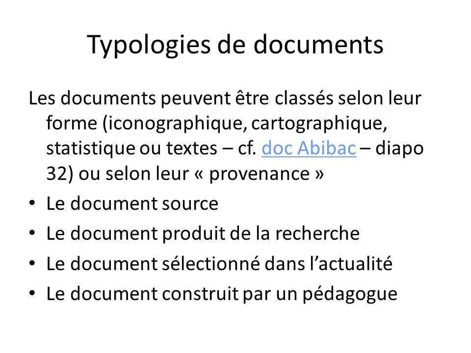 Typologies de documents Les documents peuvent être classés selon leur forme (iconographique, cartographique, statistique ou textes – cf. doc Abibac –