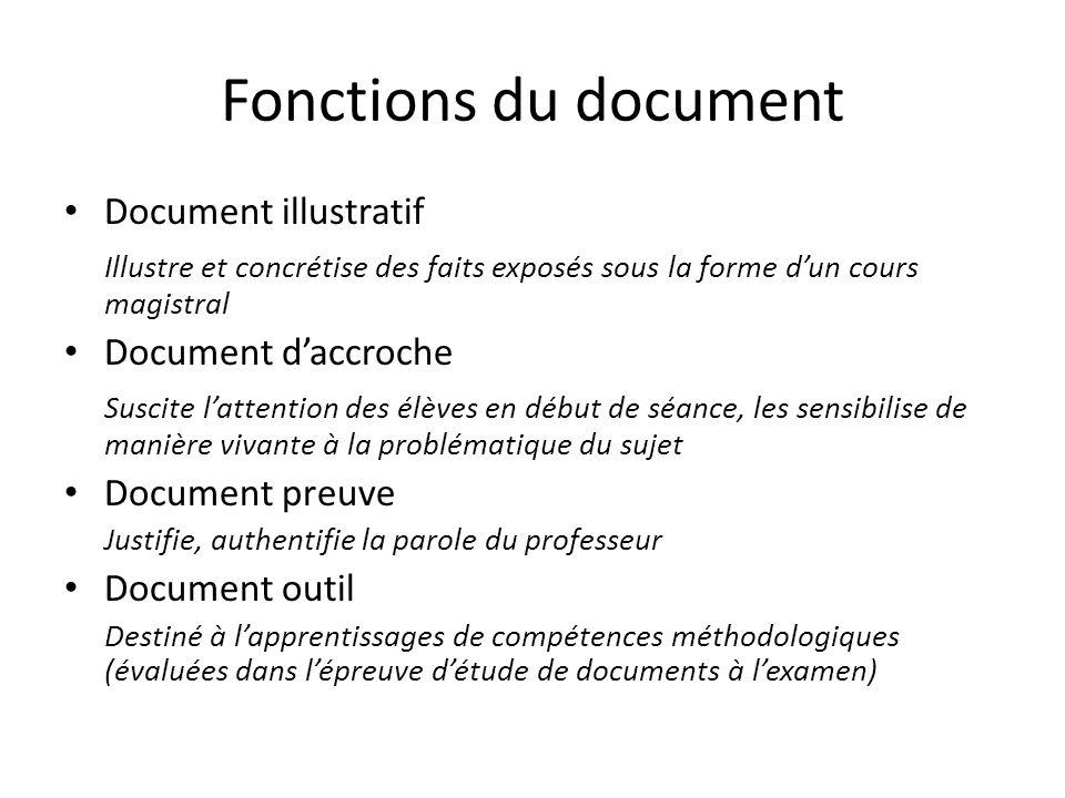 Fonctions du document Document illustratif Illustre et concrétise des faits exposés sous la forme dun cours magistral Document daccroche Suscite latte