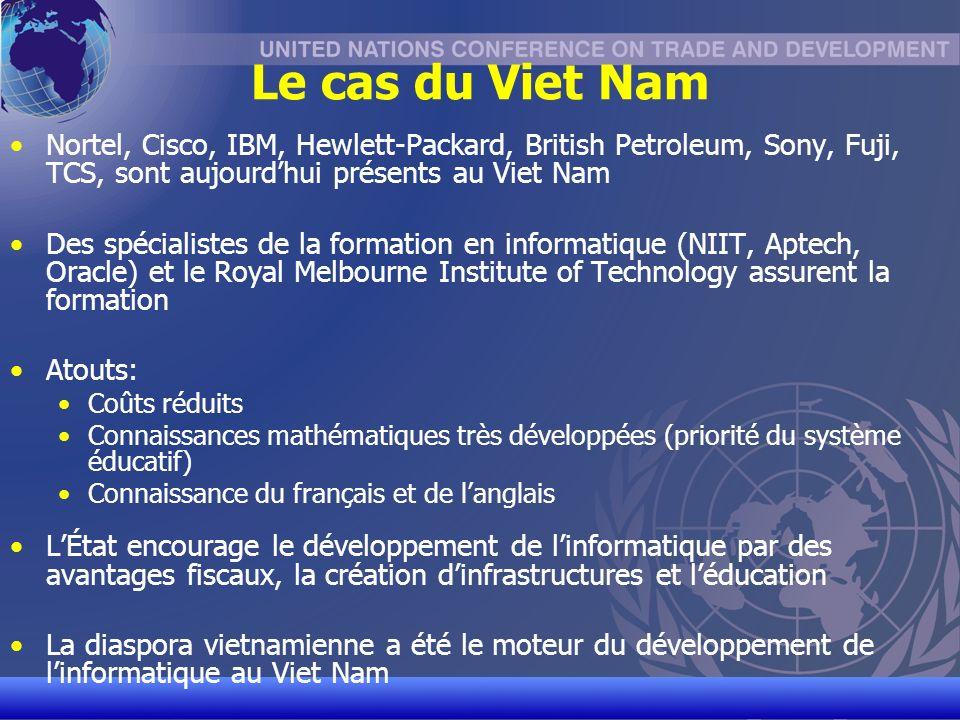 UNCTAD/CD-TFT 10 Le cas du Viet Nam Nortel, Cisco, IBM, Hewlett-Packard, British Petroleum, Sony, Fuji, TCS, sont aujourdhui présents au Viet Nam Des spécialistes de la formation en informatique (NIIT, Aptech, Oracle) et le Royal Melbourne Institute of Technology assurent la formation Atouts: Coûts réduits Connaissances mathématiques très développées (priorité du système éducatif) Connaissance du français et de langlais LÉtat encourage le développement de linformatique par des avantages fiscaux, la création dinfrastructures et léducation La diaspora vietnamienne a été le moteur du développement de linformatique au Viet Nam
