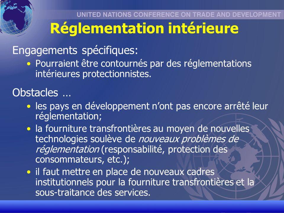 UNCTAD/CD-TFT 17 Réglementation intérieure Engagements spécifiques: Pourraient être contournés par des réglementations intérieures protectionnistes.