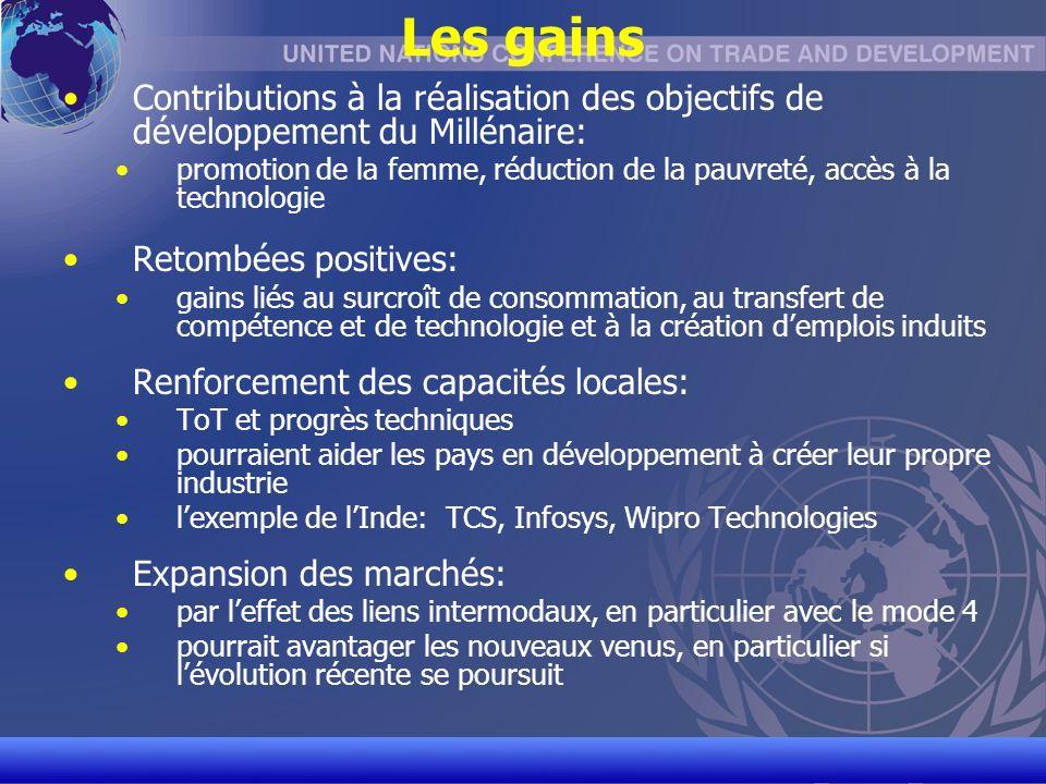 UNCTAD/CD-TFT 5 Les gains Contributions à la réalisation des objectifs de développement du Millénaire: promotion de la femme, réduction de la pauvreté, accès à la technologie Retombées positives: gains liés au surcroît de consommation, au transfert de compétence et de technologie et à la création demplois induits Renforcement des capacités locales: ToT et progrès techniques pourraient aider les pays en développement à créer leur propre industrie lexemple de lInde: TCS, Infosys, Wipro Technologies Expansion des marchés: par leffet des liens intermodaux, en particulier avec le mode 4 pourrait avantager les nouveaux venus, en particulier si lévolution récente se poursuit
