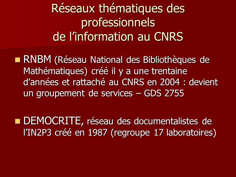 Réseaux thématiques des professionnels de linformation au CNRS RNBM (Réseau National des Bibliothèques de Mathématiques) créé il y a une trentaine dannées et rattaché au CNRS en 2004 : devient un groupement de services – GDS 2755 RNBM (Réseau National des Bibliothèques de Mathématiques) créé il y a une trentaine dannées et rattaché au CNRS en 2004 : devient un groupement de services – GDS 2755 DEMOCRITE, réseau des documentalistes de lIN2P3 créé en 1987 (regroupe 17 laboratoires) DEMOCRITE, réseau des documentalistes de lIN2P3 créé en 1987 (regroupe 17 laboratoires)