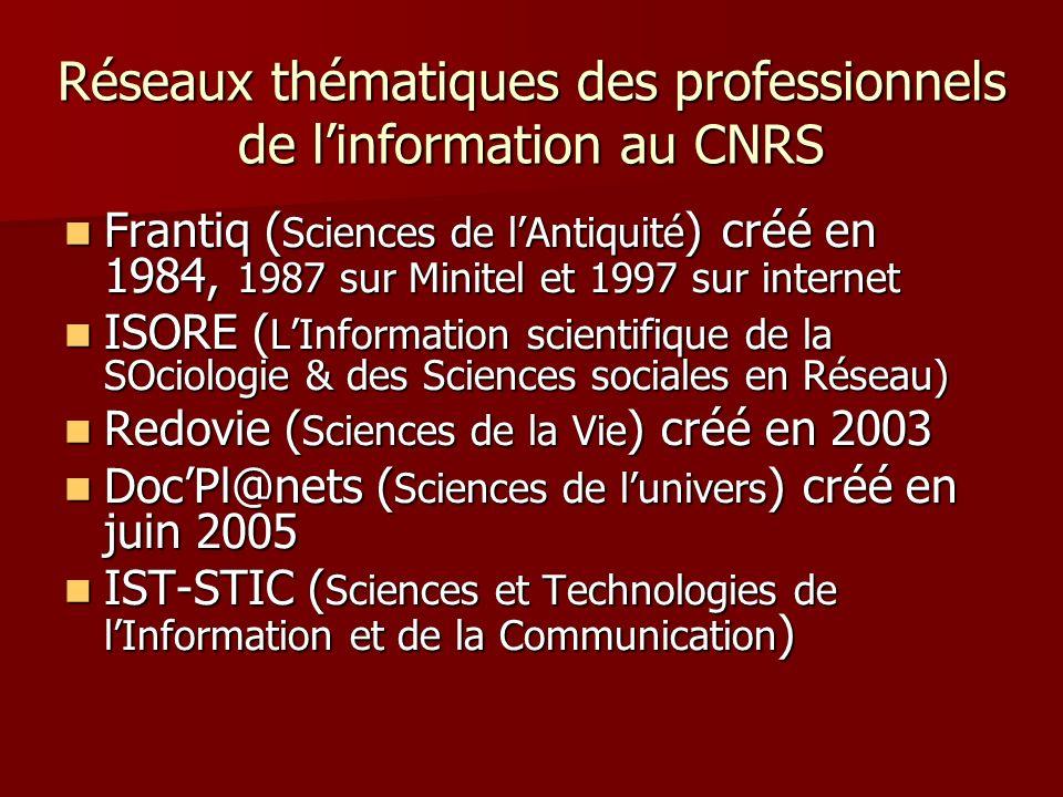 Réseaux thématiques des professionnels de linformation au CNRS Frantiq ( Sciences de lAntiquité ) créé en 1984, 1987 sur Minitel et 1997 sur internet Frantiq ( Sciences de lAntiquité ) créé en 1984, 1987 sur Minitel et 1997 sur internet ISORE ( LInformation scientifique de la SOciologie & des Sciences sociales en Réseau) ISORE ( LInformation scientifique de la SOciologie & des Sciences sociales en Réseau) Redovie ( Sciences de la Vie ) créé en 2003 Redovie ( Sciences de la Vie ) créé en 2003 DocPl@nets ( Sciences de lunivers ) créé en juin 2005 DocPl@nets ( Sciences de lunivers ) créé en juin 2005 IST-STIC ( Sciences et Technologies de lInformation et de la Communication ) IST-STIC ( Sciences et Technologies de lInformation et de la Communication )