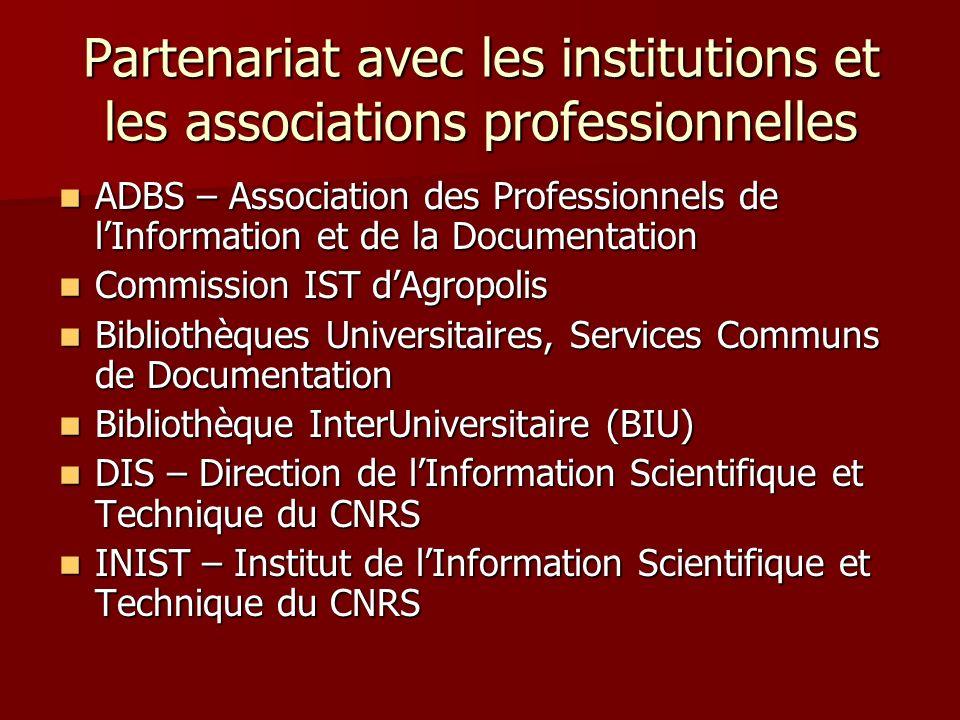 Partenariat avec les institutions et les associations professionnelles ADBS – Association des Professionnels de lInformation et de la Documentation AD