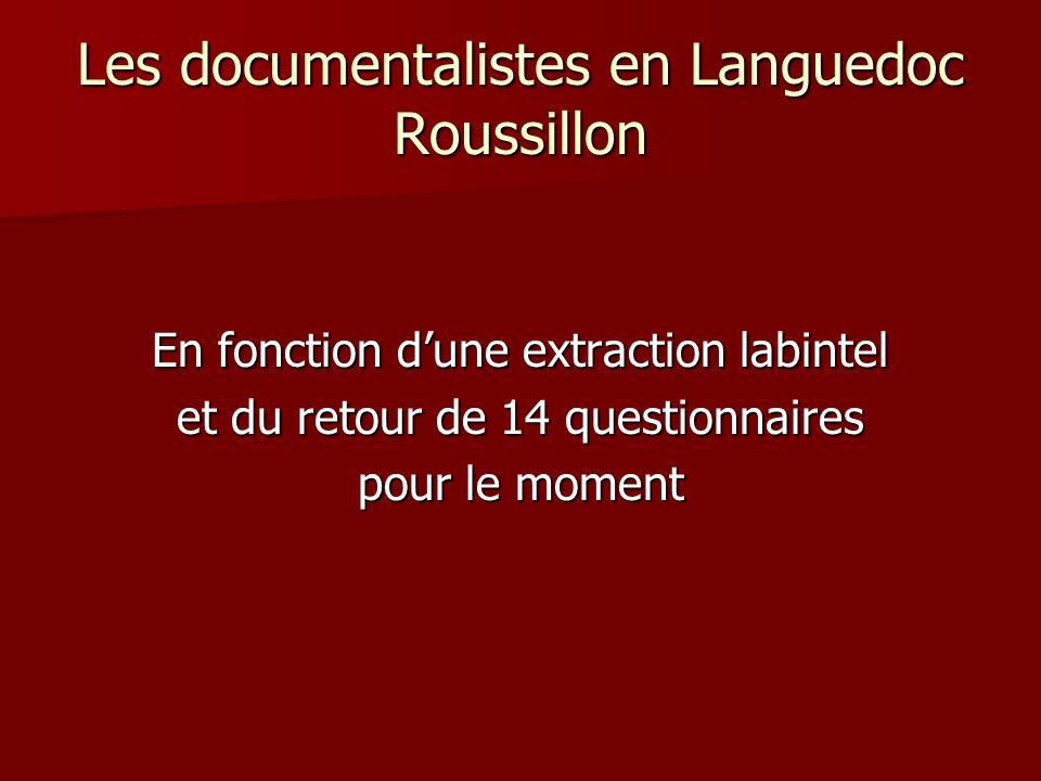 Les documentalistes en Languedoc Roussillon En fonction dune extraction labintel et du retour de 14 questionnaires pour le moment