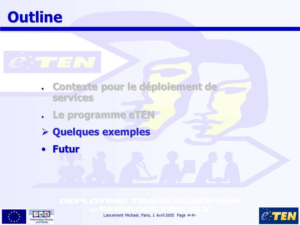 Lancement Michael, Paris, 1 Avril 2005 Page #10 Outline Outline Contexte pour le déploiement de services Contexte pour le déploiement de services Le programme eTEN Le programme eTEN Quelques exemples Quelques exemples FuturFutur