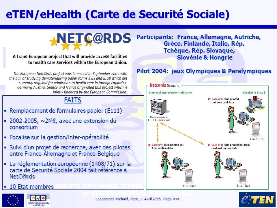 Lancement Michael, Paris, 1 Avril 2005 Page #13 eTEN/eHealth (Carte de Securité Sociale) eTEN/eHealth (Carte de Securité Sociale) FAITS Remplacement d