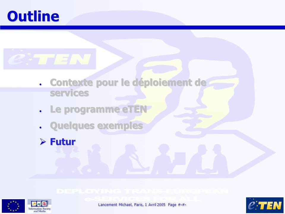 Lancement Michael, Paris, 1 Avril 2005 Page #14 Outline Outline Contexte pour le déploiement de services Contexte pour le déploiement de services Le programme eTEN Le programme eTEN Quelques exemples Quelques exemples Futur Futur