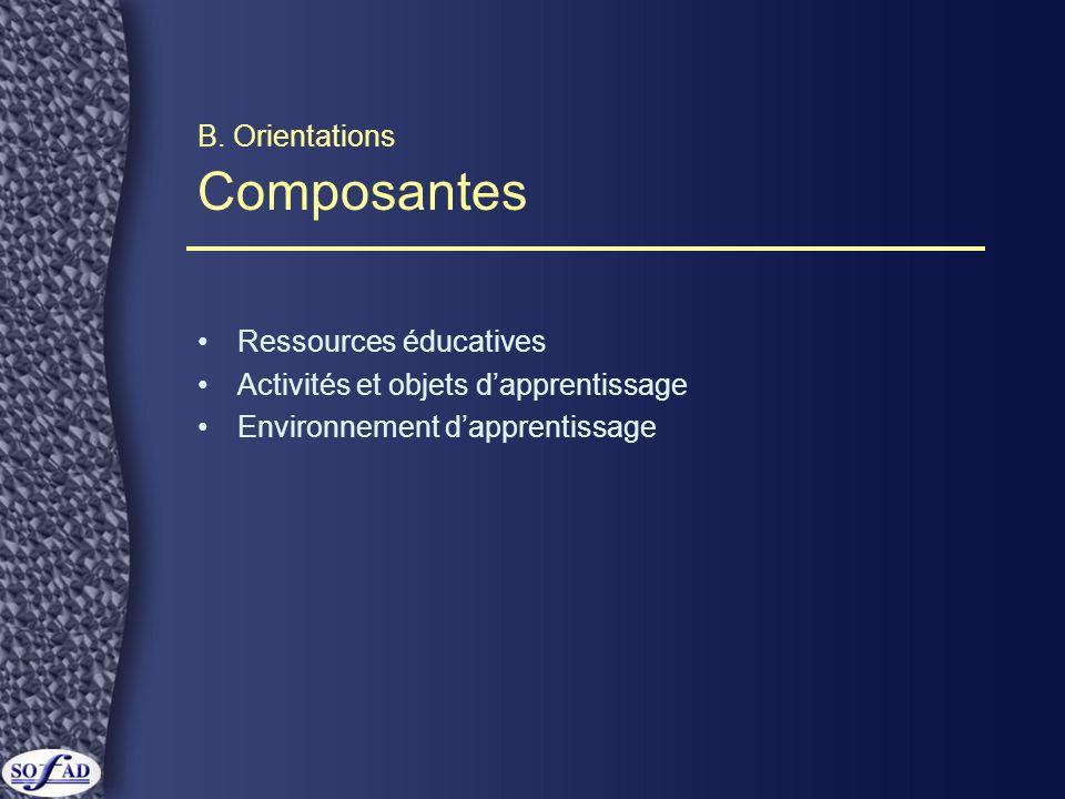B. Orientations Composantes Ressources éducatives Activités et objets dapprentissage Environnement dapprentissage