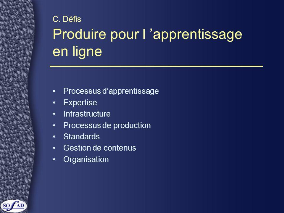 C. Défis Produire pour l apprentissage en ligne Processus dapprentissage Expertise Infrastructure Processus de production Standards Gestion de contenu