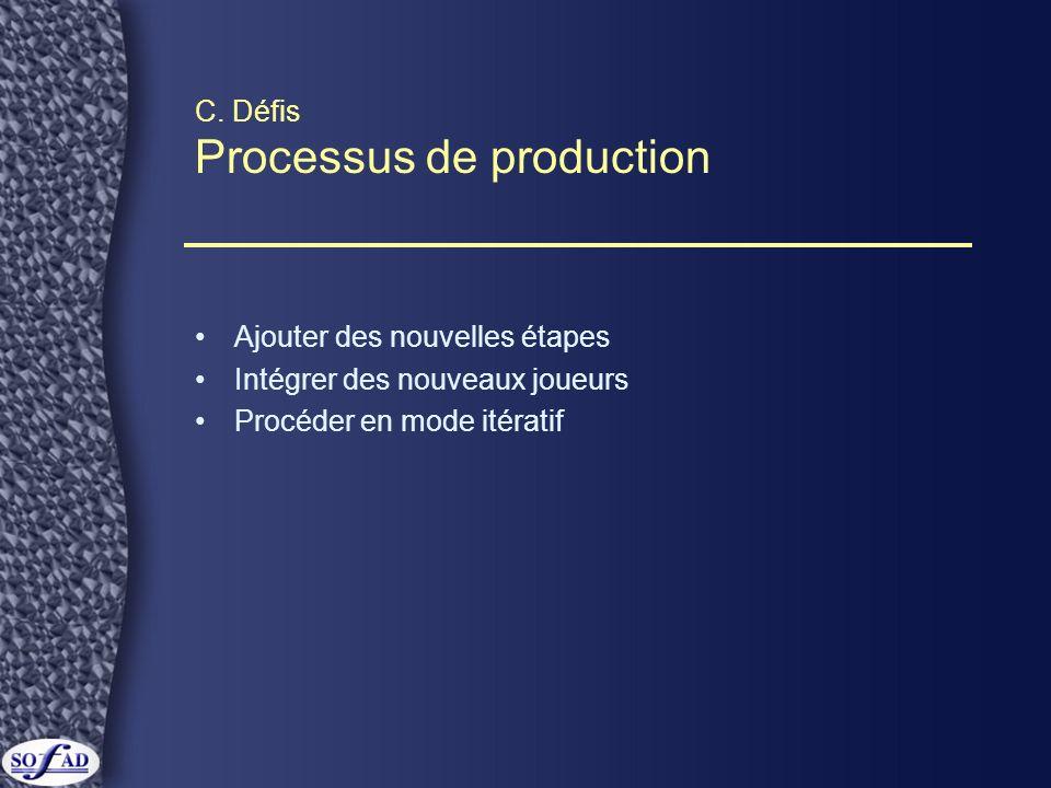 C. Défis Processus de production Ajouter des nouvelles étapes Intégrer des nouveaux joueurs Procéder en mode itératif