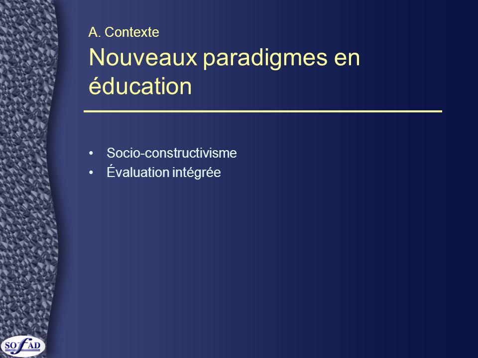 A. Contexte Nouveaux paradigmes en éducation Socio-constructivisme Évaluation intégrée