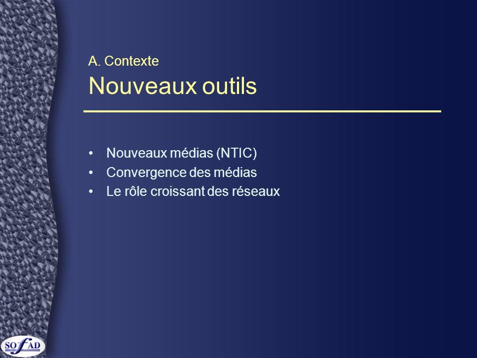 A. Contexte Nouveaux outils Nouveaux médias (NTIC) Convergence des médias Le rôle croissant des réseaux