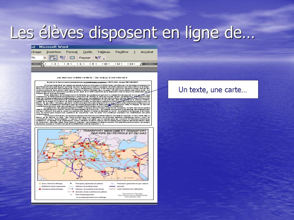 Les élèves disposent en ligne de… Un texte, une carte…