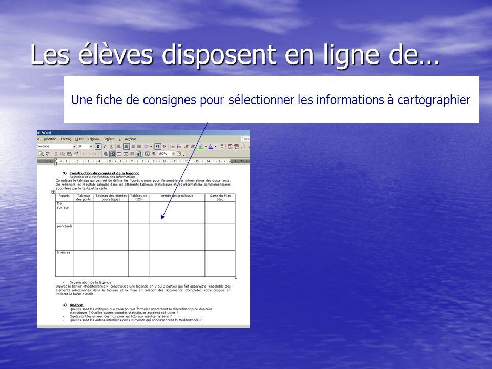 Les élèves disposent en ligne de… Une fiche de consignes pour sélectionner les informations à cartographier