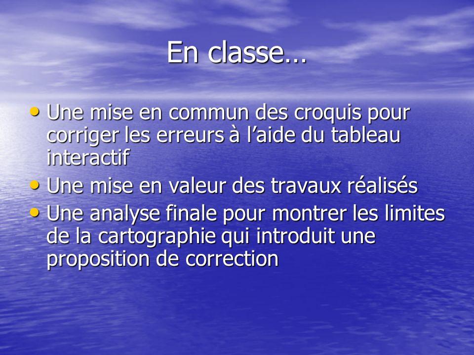 En classe… Une mise en commun des croquis pour corriger les erreurs à laide du tableau interactif Une mise en valeur des travaux réalisés Une analyse