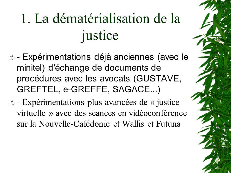 1. La dématérialisation de la justice - Expérimentations déjà anciennes (avec le minitel) d'échange de documents de procédures avec les avocats (GUSTA