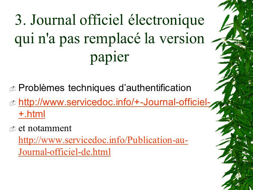 3. Journal officiel électronique qui n'a pas remplacé la version papier Problèmes techniques dauthentification http://www.servicedoc.info/+-Journal-of