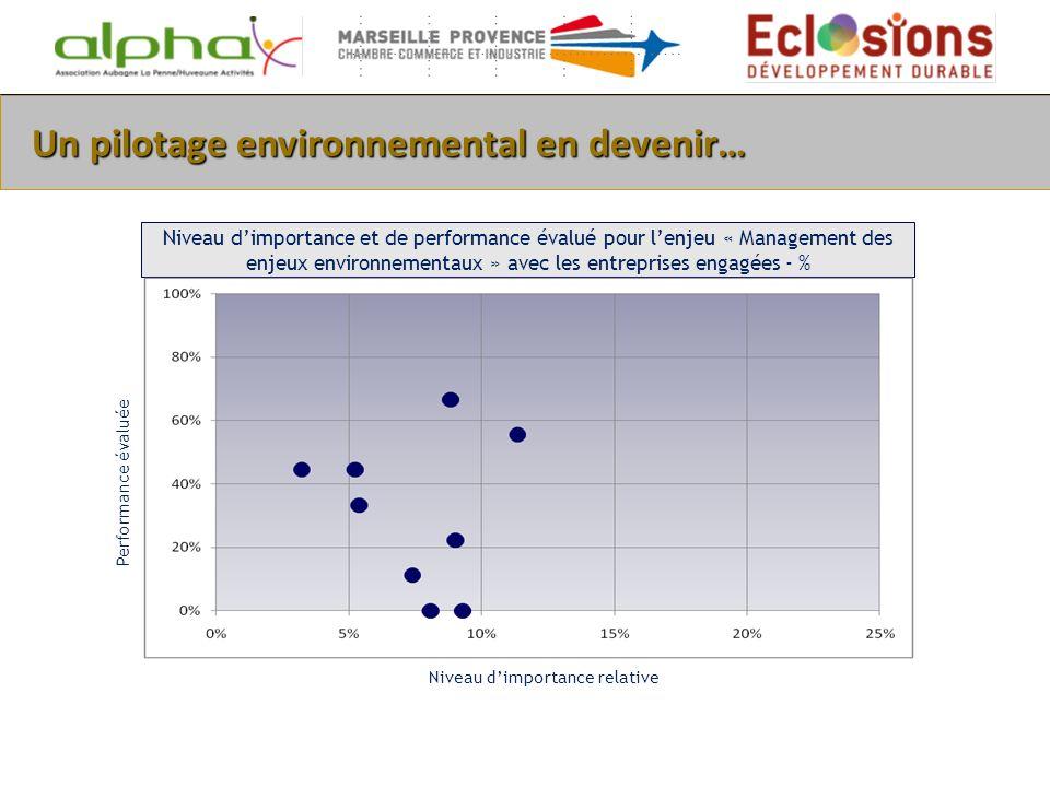 Un pilotage environnemental en devenir… Niveau dimportance et de performance évalué pour lenjeu « Management des enjeux environnementaux » avec les en