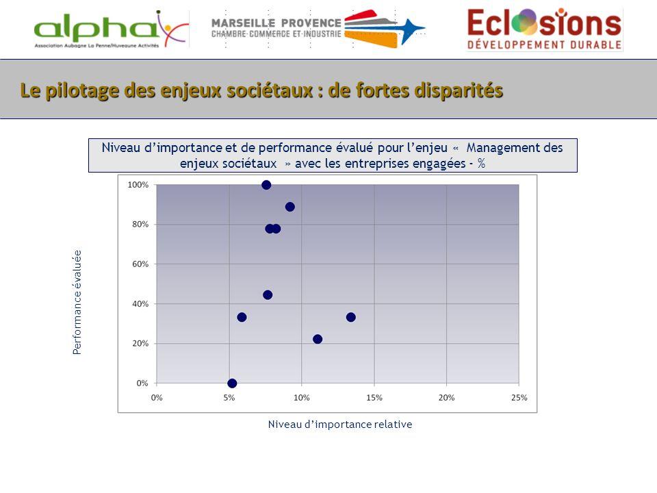 Le pilotage des enjeux sociétaux : de fortes disparités Niveau dimportance et de performance évalué pour lenjeu « Management des enjeux sociétaux » av