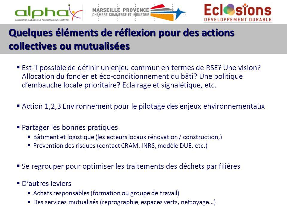 Quelques éléments de réflexion pour des actions collectives ou mutualisées Est-il possible de définir un enjeu commun en termes de RSE? Une vision? Al