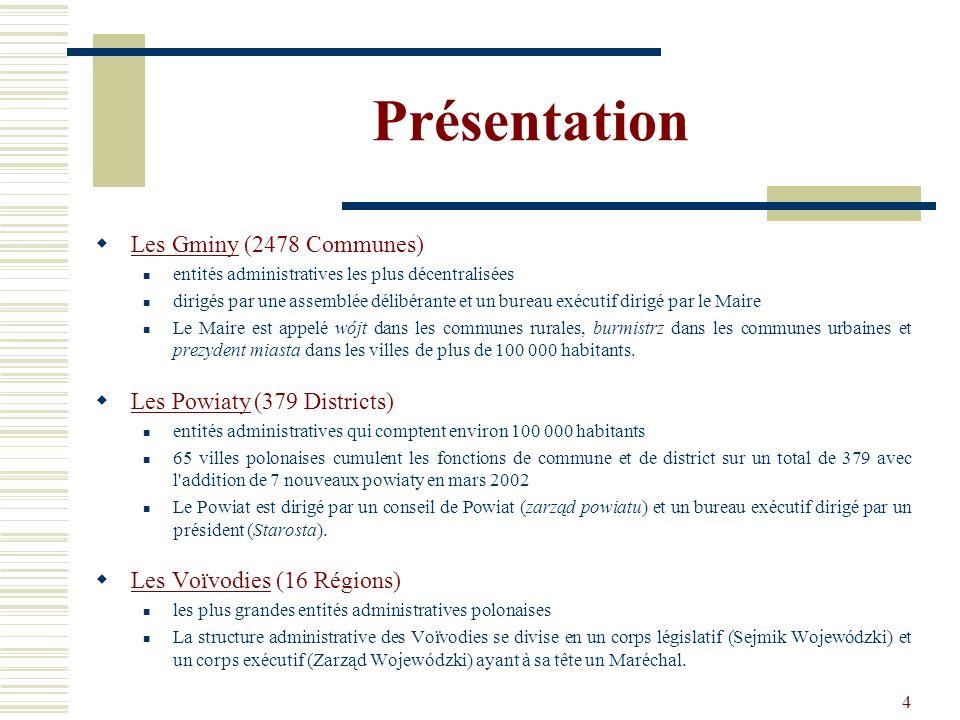 4 Présentation Les Gminy (2478 Communes) entités administratives les plus décentralisées dirigés par une assemblée délibérante et un bureau exécutif d