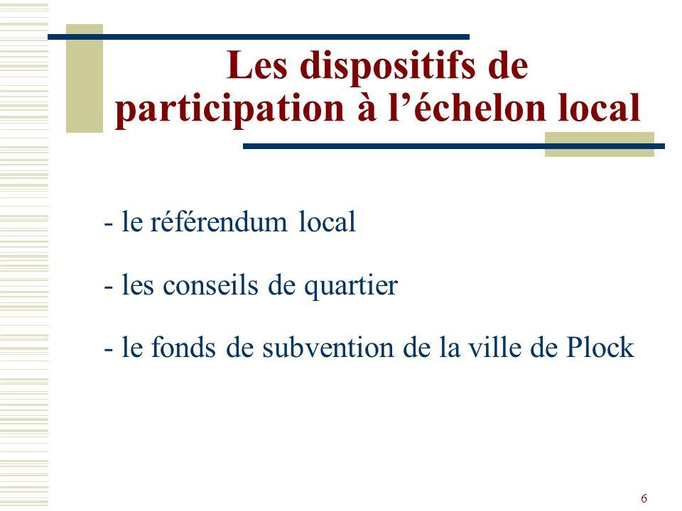 6 Les dispositifs de participation à léchelon local - le référendum local - les conseils de quartier - le fonds de subvention de la ville de Plock
