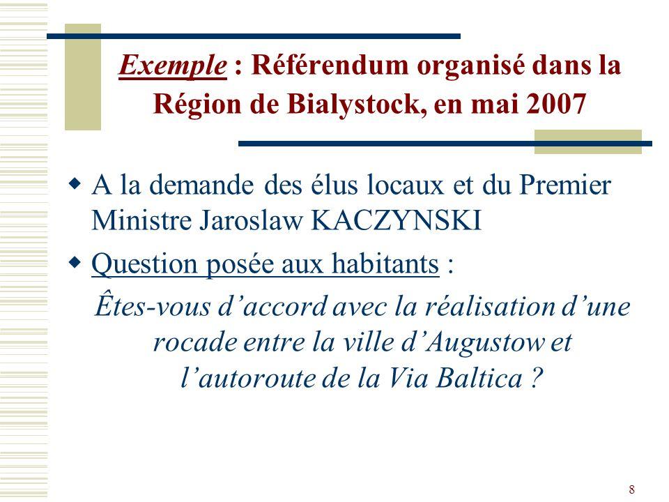 8 Exemple : Référendum organisé dans la Région de Bialystock, en mai 2007 A la demande des élus locaux et du Premier Ministre Jaroslaw KACZYNSKI Quest